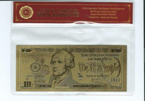 24K GOLD Plated Foil $10 Dollar Bill Novelty Collection Note N10
