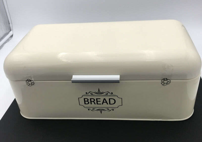 """Metal Breadbox Vintage Style Cream By ALL GREEN PRODUCTS 16.5"""" x 9"""" x 6.5"""""""