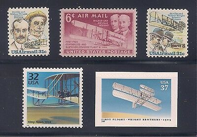 WRIGHT BROTHERS - KITTY HAWK - SET OF 5 U.S. POSTAGE STAMPS - MINT CONDITION