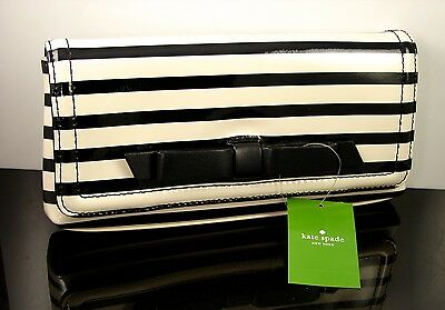 Kate Spade Chelsea Park Patent Stripe Leather Keira Clutch Bag MSRP $228.00 NWT