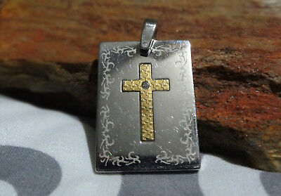 Cross Dog Tag Pendant in Stainless Steel with 18K Gold Diamond Accent
