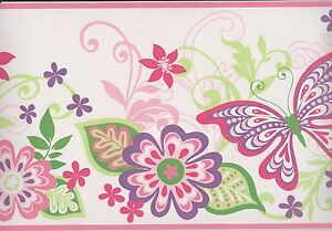 GIR94071B-Kids-Wallpaper-Border-Flowers-Butterflies-Wall-Border-Pink-Trim