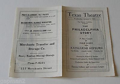Katharine Hepburn Joseph Cotton 1941 Texas Theatre Program Philadelphia Story