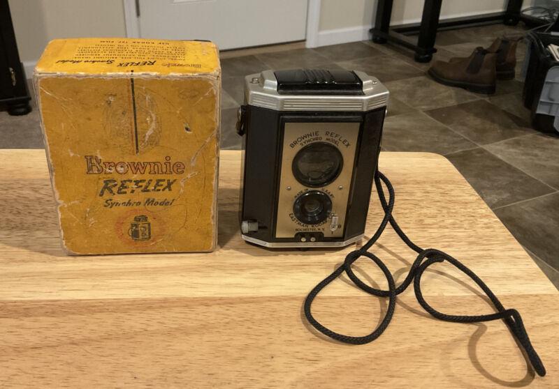 Vintage Kodak Brownie Reflex Synchro Model Camera w/Strap and Box