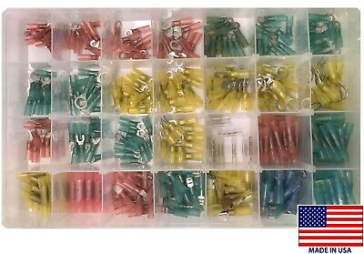 345 Heat Shrink Crimp Wire Terminal Connector Shop Assortment Kit - Usa Made