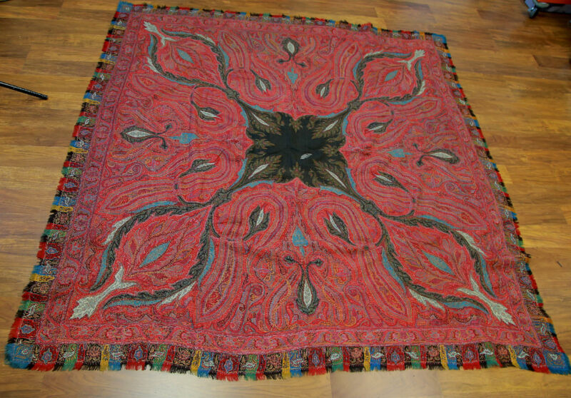 Antique  Kashmir Paisley shawl Signed hand woven 19th century