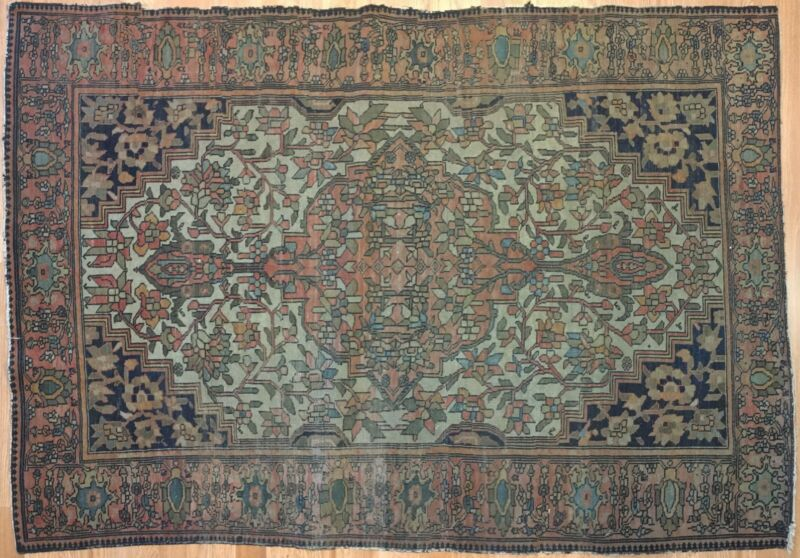 Fabulous Ferahan - 1900s Antique Persian Rug - Sarouk Carpet - 4.4 X 6.1 Ft.