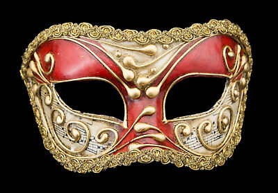 Mask Venice Wolf Colombine Red Musica Authentic Paper Mache 2413 V14B