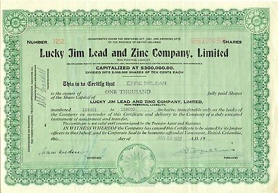 CANADA 1937 LUCKY JIM LEAD AND ZINC COMPANY Ltd., Zertifikat über 1.000 Gründer
