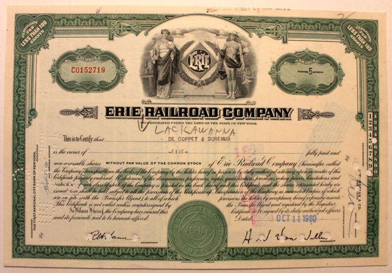 Original 1960 Erie Railroad Stock Certificate
