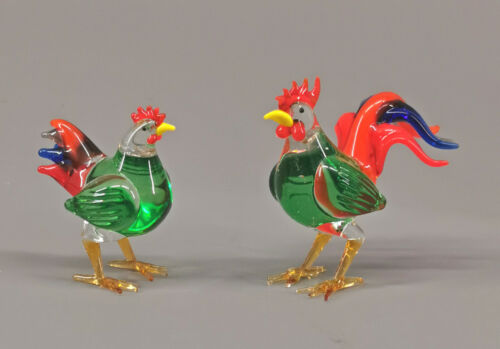 9912063-x Glas Figure Hen And Rooster Chickens 2x2in Mouth-Blown Handmade