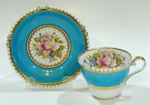 RARE Aynsley BAILEY Design CABBAGE ROSE CUP & SAUCER Hand Painted HOBNAIL shape