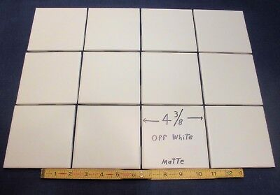"12 Ceramic Tiles *Matte Off White* 4-3/8""  Clean New Stock in Mint Condition"