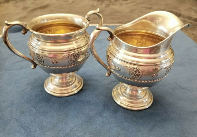 Wallace Rose Point Sterling Silver Creamer & Sugar