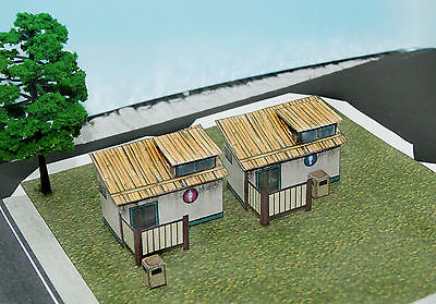 2 Restrooms & Trash Cans Set N Scale Building DIY Paper Cutout Kit for sale  Rancho Cucamonga