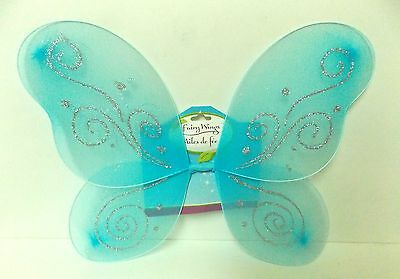 Fairy Wings Dress Up Costume Glittery Tinkerbell Wings Blue - Blue Fairy Wings Costume