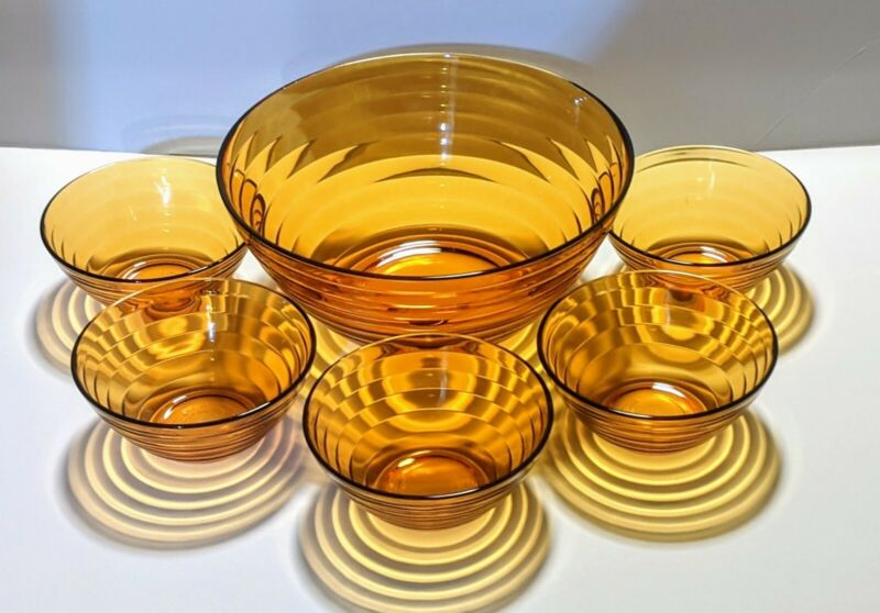 Vintage Set of 6 Duralex Amber French Glass Beehive Large Bowl & 5 Dessert Bowls