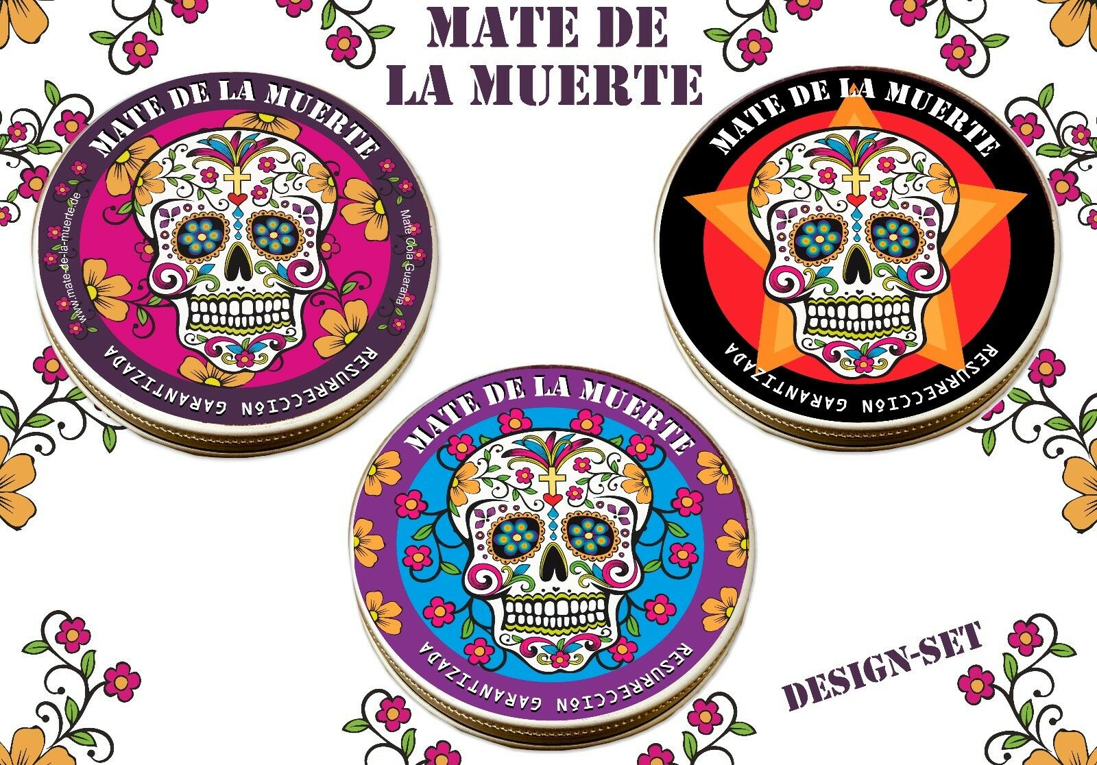 Mate de la Muerte - Mate Tee mit Guarana und Colanuss Designset - Super Geschenk