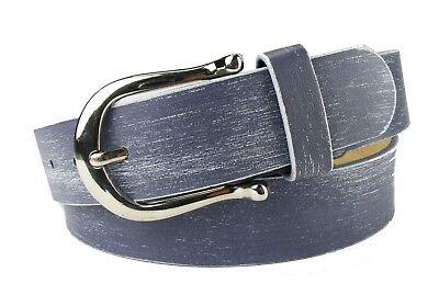 Designer Damengürtel Jeansgürtel  blau marine Gürtel nur 3,2 cm breit  B12 (Damen Designer Gürtel)
