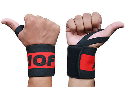 AQF Power Weight Lifting Wrist Wraps Supports Gym Training Fist Straps 14""