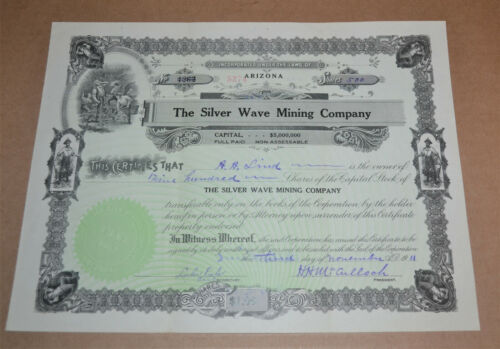 The Silver Wave Mining Company 1911 antique stock certificate
