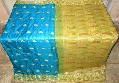 Pure silk Antique Vintage Sari HUCE LOT 4y S8 403 Blue Golden DECOR #ABGMO