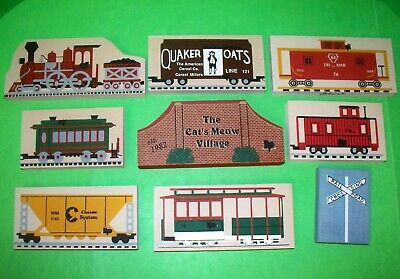 Vintage Cat's Meow Train Display Engine PRR Quaker Oats, Crossing Sign, Cabooses
