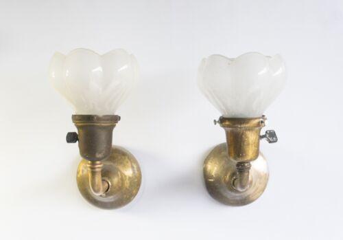 Tiffany Studios Pair Early Sconces w/ Frosted Glass Shades (NY ca.1905)