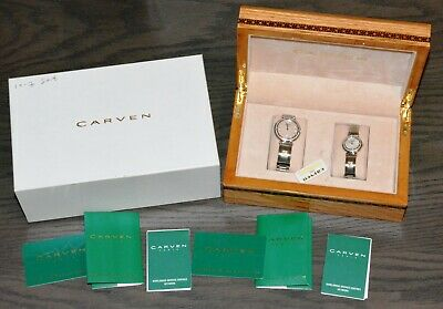 Carven Men's and Women's Two Tone Watch Set BRAND NEW in Nice Wooden Box!