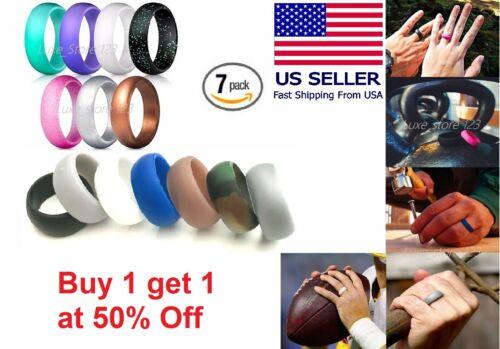 7 Pcs Silicone Wedding Ring Band Rubber Men Women Flexible Gifts Comfortable