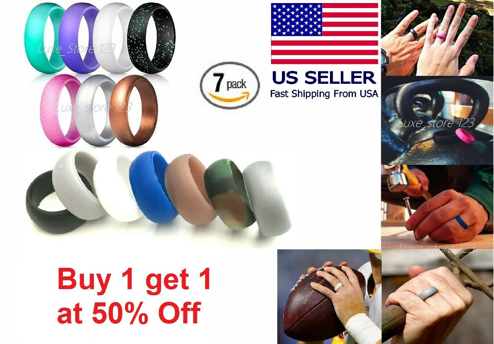 7 pcs silicone wedding ring band rubber