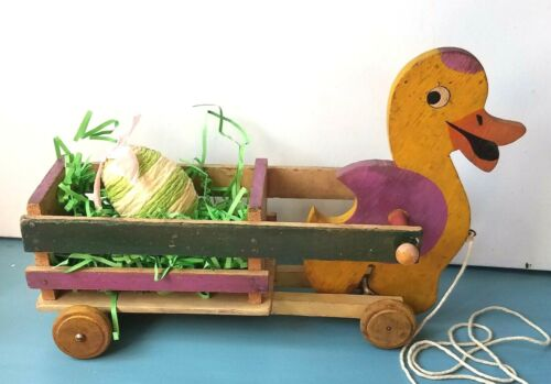 VTG Wooden Pull Toy Duck Wood Cart Primitive Wagon Easter Egg Lot UP/Down Motion