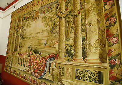 12' X8.4' Handmade Aubusson Antique Wool Floral Tapestry Column Horse-Drawn Cart