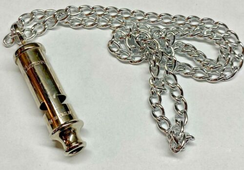 VINTAGE BRITISH POLICE WHISTLE With Chain (THE METROPOLITAN ) MADE IN ENGLAND