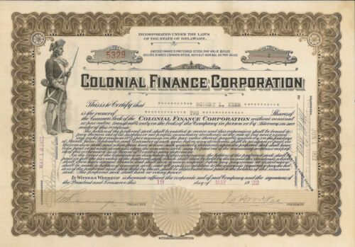 Colonial Finance Corporation > 1922 old stock certificate share