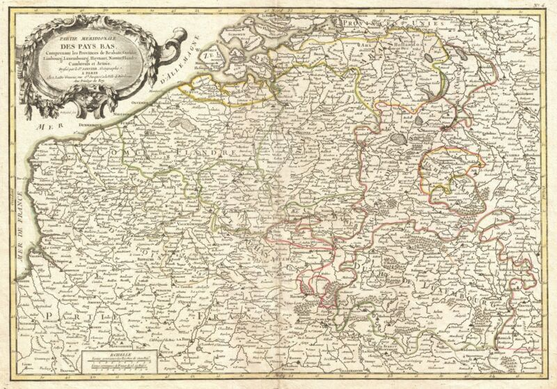1771 Janvier Map of Belgium and Luxembourg