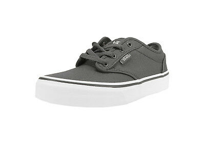 Vans Kids Youths Children Girls Boys Shoes Atwood Pewter White Canvas Pewter Kids Shoes