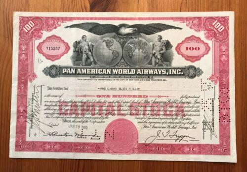 1950 PAN AMERICAN WORLD AIRWAYS, INC. STOCK CERTIFICATE SUPERB VIGNETTE CA, NY