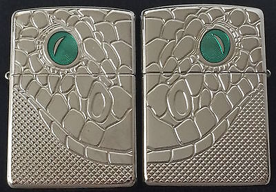 Zippo Armor 2 Piece Snake Lighter Set, Chrome With Green Resin Eyes, New In Box