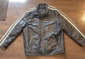 David Moore Grey Leather Jacket XL