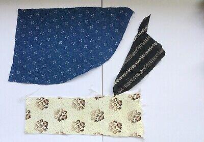 set of 3 antique civil war era fabric scraps c1880 collectable