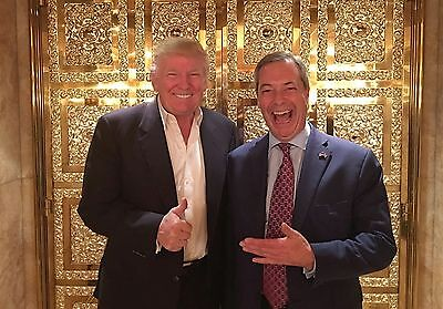 """NIGEL FARAGE AND DONALD TRUMP~ A4 NEW GLOSSY PHOTO POSTER PRINT 11.75"""" X 8.25"""""""