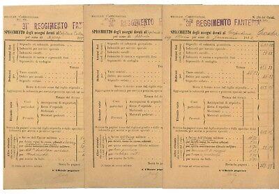 31° REGGIMENTO FANTERIA SPECCHIETTO ASSEGNI 1912 STIPENDI CAPITANO 9 BUSTE PAGA