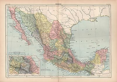 1880 ca ANTIQUE MAP-CENTRAL AMERICA, MEXICO