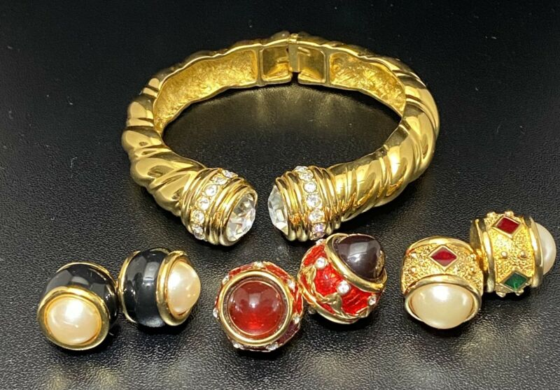 Vtg Joan Rivers Hinged Cuff Bracelet Interchangeable Cabochons Rare Jewelry