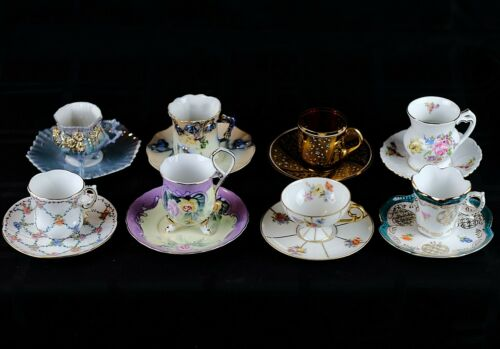 Mixed 8 Sets of Cups & Saucers, Vintage or Antique China, Elegant Porcelain Sets