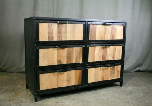 Modern Walnut Dresser, Solid Walnut Cabinet With Drawers, Industrial Storage