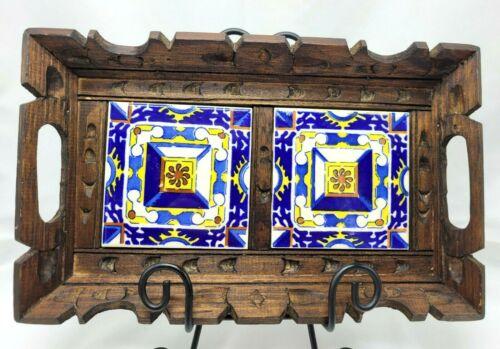 Mexican 2 Tile Trivet Tray Wood Frame Folk  Art Blue Serving Carved Vintage