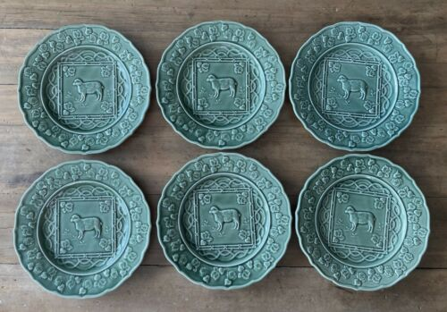 "6 BORDALLO PINHEIRO Green Majolica-Style LUNCHEON PLATES 9-1/8"" SHEEP & BEETS"