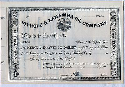 Pithole & Kanawha Oil Company Stock Certificate Philadelphia Pennsylvania Gas